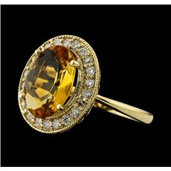 3.67 ctw Citrine and Diamond Ring - 14KT Yellow Gold