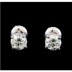 1.13 ctw Diamond Stud Earrings - 14KT White Gold
