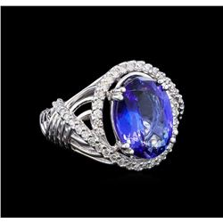 14KT White Gold 6.77 ctw Tanzanite and Diamond Ring