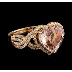 5.34 ctw Morganite and Diamond Ring - 14KT Rose Gold