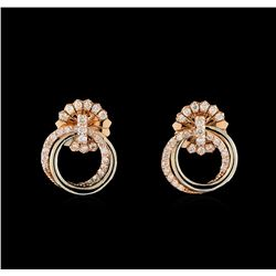 0.42 ctw Diamond Earrings - 14KT Two-Tone Gold