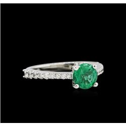 1.27 ctw Emerald and Diamond Ring - 14KT White Gold