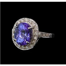 6.64 ctw Tanzanite and Diamond Ring - 14KT White Gold