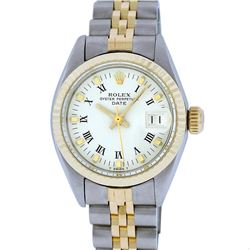 Rolex Two-Tone White Roman Yellow Gold Fluted Jubilee Band DateJust Ladies Watch