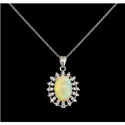 3.42 ctw Opal and Diamond Pendant - 14KT White Gold