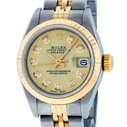 Rolex Ladies 2T Quickset Champagne Diamond Datejust Wristwatch