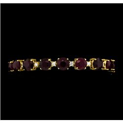 44.63 ctw Ruby and Diamond Bracelet - 14KT Yellow Gold