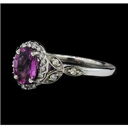 1.49 ctw Pink Sapphire and Diamond Ring - 14KT White Gold