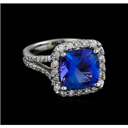 5.64 ctw Tanzanite and Diamond Ring - 14KT White Gold