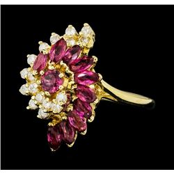 1.20 ctw Ruby and Diamond Ring - 14KT Yellow Gold