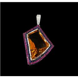 55.03 ctw Citrine Quartz, Sapphire and Diamond Pendant - 18KT White Gold