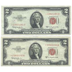 (2) 1953 $2 Legal Tender Star Notes