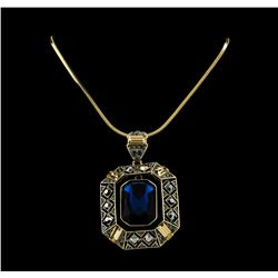 Sapphire Crystal Necklace - Gold Plated