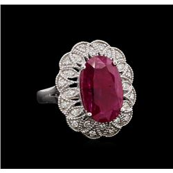 GIA Cert 5.81 ctw Ruby and Diamond Ring - 14KT White Gold