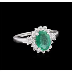 1.33 ctw Emerald and Diamond Ring - 14KT White Gold