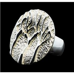 Branch Medallion Ring - Rhodium Plated
