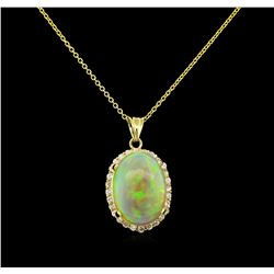22.30 ctw Opal and Diamond Pendant - 14KT Yellow Gold