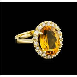 6.14 ctw Citrine and Diamond Ring - 14KT Yellow Gold