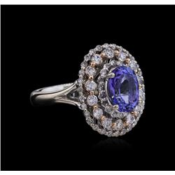 2.14 ctw Tanzanite and Diamond Ring - 14KT Two-Tone Gold