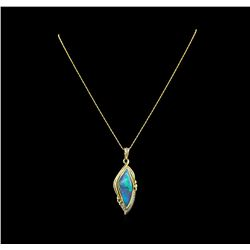 14KT Yellow Gold 11.00 ctw Opal and Diamond Pendant With Chain