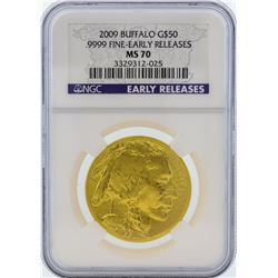 2009 NGC MS70 Fine Early Release $50 American Buffalo Gold Coin