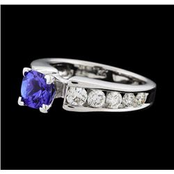 1.10 ctw Tanzanite and Diamond Ring - 14KT White Gold
