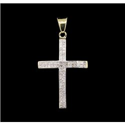 1.00 ctw Diamond Cross Pendant - 14KT Yellow Gold