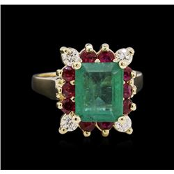 2.75 ctw Emerald, Ruby, and Diamond Ring - 14KT White Gold