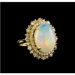11.88 ctw Opal and Diamond Ring - 14KT Yellow Gold