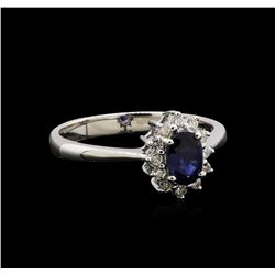 0.70 ctw Blue Sapphire and Diamond Ring - 18KT White Gold