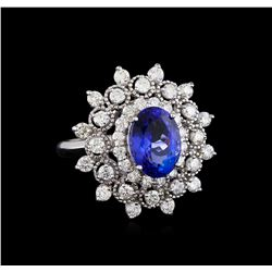 3.88 ctw Tanzanite and Diamond Ring - 14KT White Gold