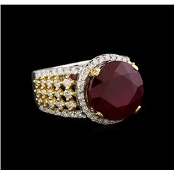 14KT Two-Tone Gold 9.57 ctw Ruby and Diamond Ring