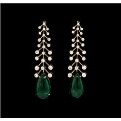 20.30 ctw Emerald And Diamond Earrings - 18KT Rose Gold