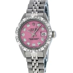 Rolex Ladies SS Pink Diamond Pyramid Bezel Datejust Wristwatch