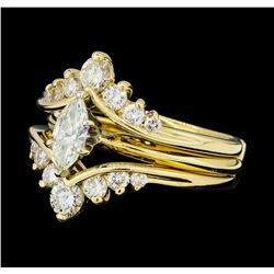 0.70 ctw Diamond Ring And Ring Guard - 14KT White And Yellow Gold