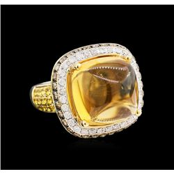 14.58 ctw Citrine, Yellow Sapphire and Diamond Ring - 14KT Yellow Gold