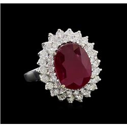 GIA Cert 6.53 ctw Ruby and Diamond Ring - 14KT White Gold