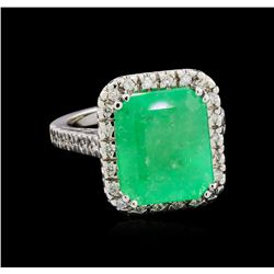 GIA Cert 10.54 ctw Emerald and Diamond Ring - 14KT White Gold