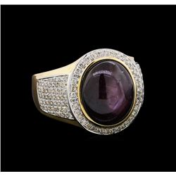 14.41 ctw Ruby and Diamond Ring - 14KT Yellow Gold