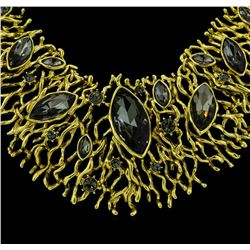 Matte Gold Branches Crystal Necklace - Gold Plated