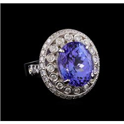 9.23 ctw Tanzanite and Diamond Ring - 14KT White Gold