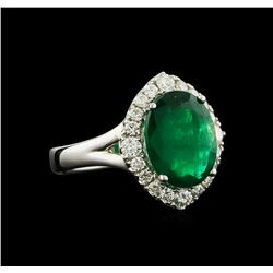 3.58 ctw Emerald and Diamond Ring - 18KT White Gold