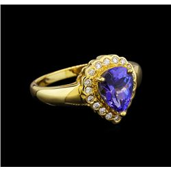 18KT Yellow Gold 1.70 ctw Tanzanite and Diamond Ring