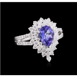 1.35 ctw Tanzanite and Diamond Ring - 18KT White Gold