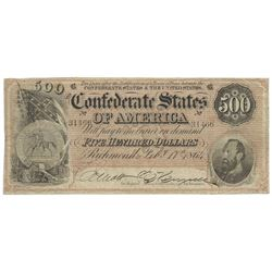 1864 $500 Condferate States of America Note