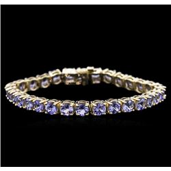 13.60 ctw Tanzanite Bracelet - 14KT Yellow Gold