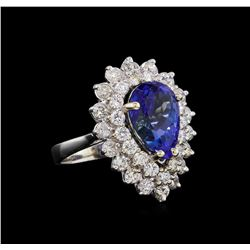 5.15 ctw Tanzanite and Diamond Ring - 14KT White Gold