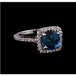 2.85 ctw London Blue Topaz and Diamond Ring - 14KT White Gold