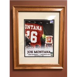 "JOE MONTANA SIGNED FRAMED PHOTO (DECEMBER 15/1997) JERSEY RETIREMENT ""CANDLESTICK PARK"""