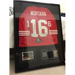 JOE MONTANA SIGNED 49ERS JERSEY W/ COLLAGE (FRAMED)